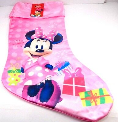 "Disney Minnie Mouse Christmas Stocking Bright Pink Soft Shiny Presents 18"" New"
