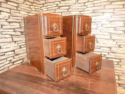 2 X Antique (1905) Miniature Mahogany Chest / Bank Of Drawers,collectors Cabinet