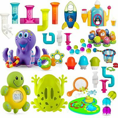 Boon Nuby Child Baby Kids Bath Time Toys Rubber Float Squeeze Wash Suction Pipes