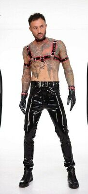 Latex Rubber Chest Harness Westward Bound Black / Red sizes S-1XL RRP £80.00-£92