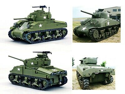 WW2 US M1 Sherman tank MOC full set+instruction by Buildarmy®+custom minifigures