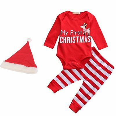 Baby Set Outfit Weihnachten My First Christmas Body Hose Strampler Romper Hat