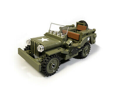 WW2 US Willy MB jeep MOC brick set | minifigure by Buildarmy® +free Lego panel