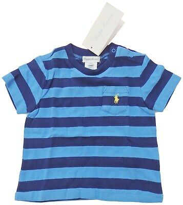 RALPH LAUREN baby boy Pony pocket T-shirt 6/9M blue striped cotton (75cm) BNWT