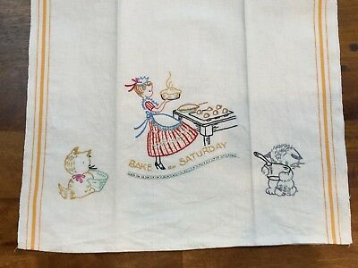 Vintage Embroidered BAKE ON SATURDAY Linen Dish Towel with Cats