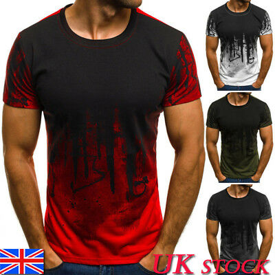 Mens Short Sleeve T-shirt Gym Casual Muscle Slim Fit Tee Top Shirt UK Size S-XL