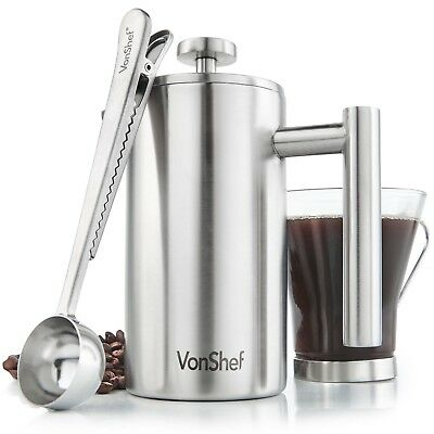 VonShef 3 Cup French Press Double Walled Stainless Steel Cafetiere Coffee Maker