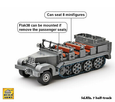 WW2 German halftrack full brick set+instruction by Buildarmy® +free Lego panel