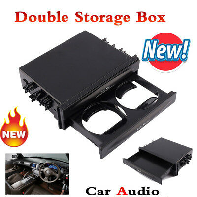 Universal Car Auto Double Din Radio Pocket Drawer Drink Cup Holder & Storage Box