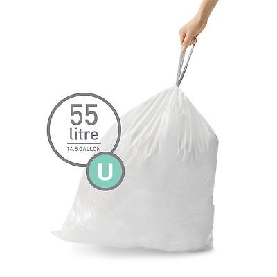simplehuman Code Size U - Custom Fit Waste Bin Liners Bags - 55 Litres - 20 Pack