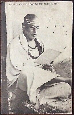 Antique Pc View Of Saivite Priest Reading His Scriptures R.tucks Life In India