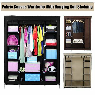 BEST Fabric Canvas Wardrobe With Hanging Rail Shelving Home Storage 135*45*175cm