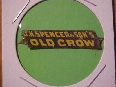 OLD CROW  vintage tin tobacco tag by D.H. Spencer & Sons
