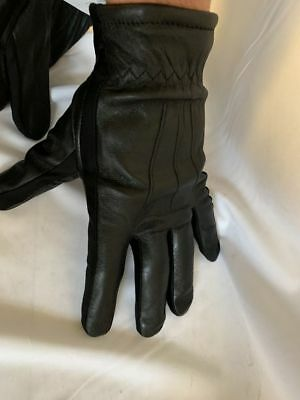 Men's Wearhouse Black Leather Stretch Gloves Med Or Xl Brand New
