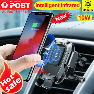 Baseus Intelligent Qi Wireless Charger Car Air Vent Mount Holder iPhone X XS S9