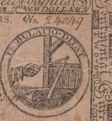 Very Scarce Continental Colonial Note ** CC-2 ** Very Fine ** $2.00 May 10, 1775