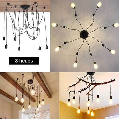 8 Heads Retro Industrial Light Hanging Spider Chandelier Ceiling Pendant Lamp