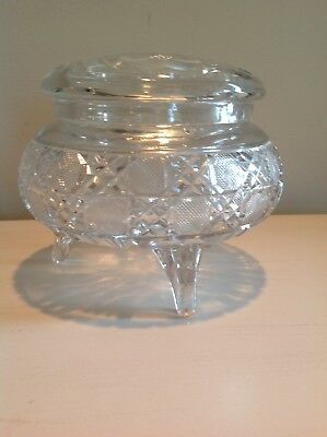 Antique vanity dresser powder box cut glass Footed with lid and puff