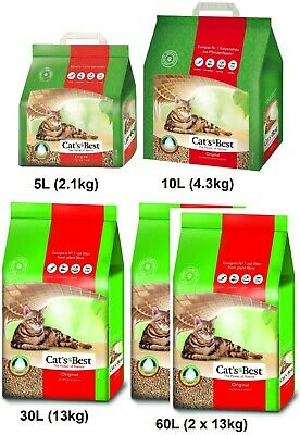 Cats Best Oko Plus Wood Fibres Based Clumping Cat Litter 10 30 60 Litres kg [HP]