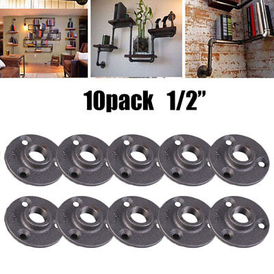 "1/2"" Malleable Threaded Black Floor Flange Iron Pipe Fittings BSP Wall Mount 10X"