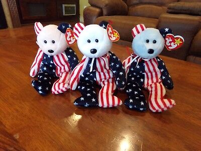 Ty Beanie Babies - Spangle - Set of 3 - Red, White and Blue New