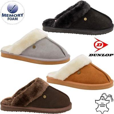 Ladies Real Leather Wide Fit Slippers Womens Warm Fur Winter Mules Shoes Size
