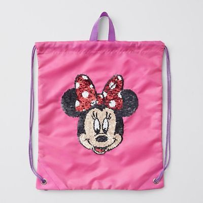 NEW Disney Minnie Mouse Reversible Sequin Drawstring Bag Kids