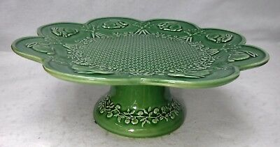 BORDALLO PINHEIRO Portugal RABBIT GREEN pattern Pedestal Cake Stand/Plate 13-1/8