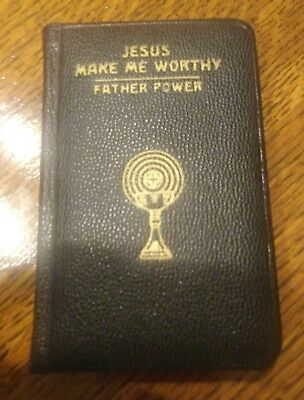 Jesus Make Me Worthy Fr Power Latin/English 1st communion Catholic prayers 1963