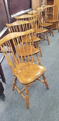 Set Of 6 Vintage S Bent Brothers Bros Colonial Windsor Chairs Fiddle Back