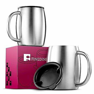 Stainless Steel Coffee Mugs with Lids (Set of 2) Double Walled BPA Free 14 oz