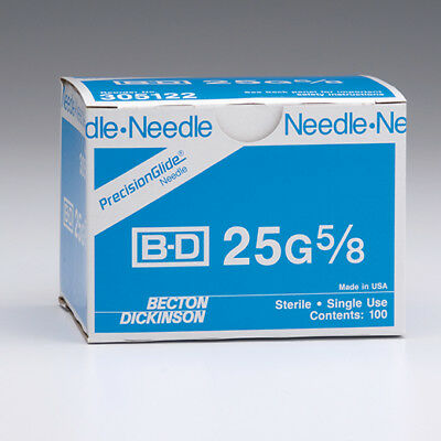 "Box of 100 Single Use BD PrecisionGlide 25 G x 1-1/2"" Hypodermic Needles 305127"