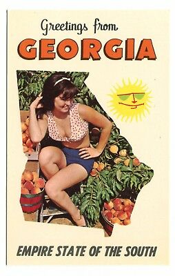 Greetings Georgia Peach Pinup Girl Empire State of the South 1960s Postcard