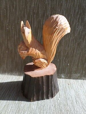 Vintage Swedish Hand Carved Wooden Squirrel Figurine
