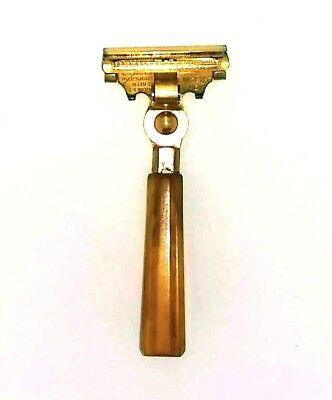 Schick Type E Vintage Injector Safety Razor With Butterscotch Handle