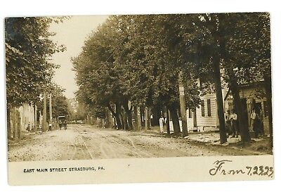 RPPC East Main Street STRASBURG PA Vintage Lancaster County Real Photo Postcard