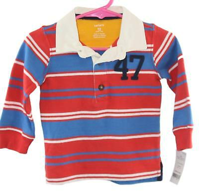 Carters Toddler Boys Blue Red Long Sleeve Striped Two Button Shirt Size 12 Mos