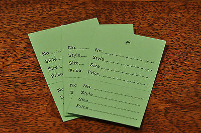100 Green Stock Control Unstrung Tickets, Printed And Perforated Garment Tags