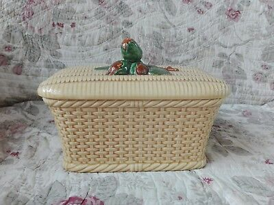 Ancienne Boite A Biscuits Panier Tresse Barbotine Noisettes Val D'or