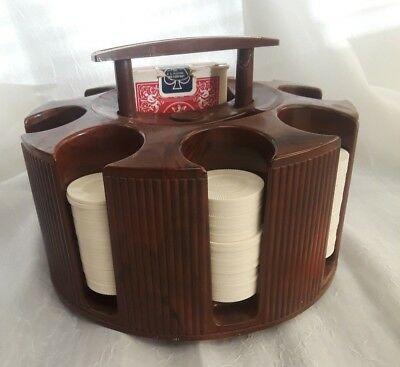 Vintage Revolving Poker Chip Rack Holder Lowe Bakelite Plastic w/ Chips & 1 Deck