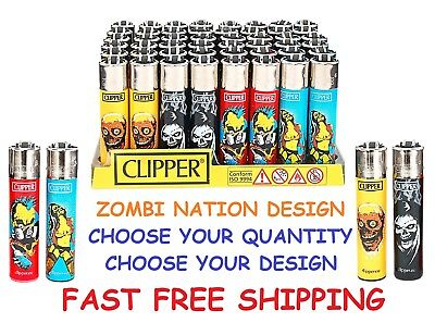 BIG Size CLIPPER Refillable Full STYLE Lighters ZOMBIE NATION COLLECTION LIGHTER