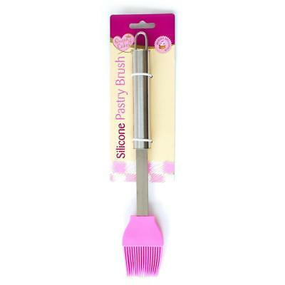 Pink Silicone Pastry Basting Brush with Stainless Steel Handle Cooking Utensil