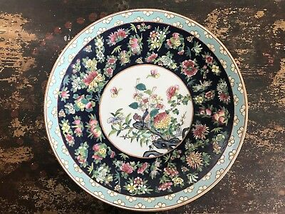 Huge Antique 1890's Chinese Porcelain Charger Plate Enamel Floral Design