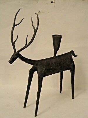 Primitive Raw Wrought Iron Deer Candle Holder Hand Forged Metalcraft