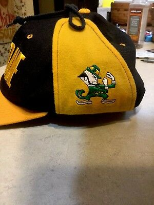Vintage Rare Notre Dame Fighting Irish Ear Flaps Snap Back Wool Poly