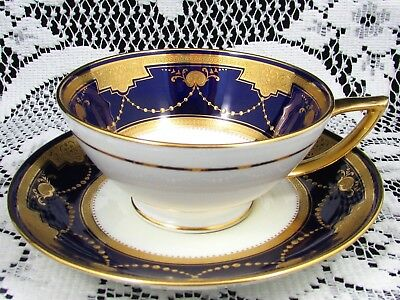 Minton Cobalt Blue Gold Gilt Beaded Swags Etched Gold Tea Cup And Saucer