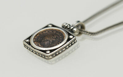 Sterling Silver Necklace with a Genuine Ancient Coin, Roman Bronze. w/Cert-006