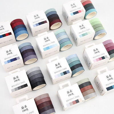 5pcs/set Solid Color Washi Tapes Scrapbooking Dairy Decor Adhesive Tape 10mm*5m