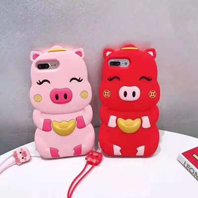 3D Cute Love Gold Lucky Pig Soft Phone Case For iPhone X XS Max XR 6 7 8 Plus