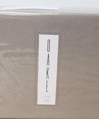NEW! Oake Piquet Printed Cotton CAL KING Fitted Sheet and Two King Shams Taupe